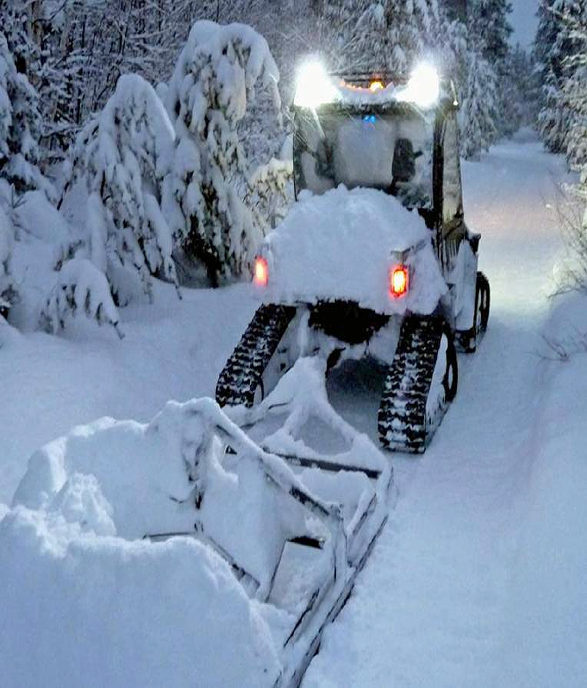 Homemade Trail Groomer pulled behind snowmobile.   Snowed ...  Cross Country Ski Trail Grooming